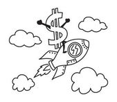 Cartoon illustration of dollar riding rocket up high to the sky