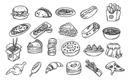 Set of hand drawn food isolated on white backgroun...