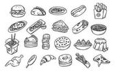 Set of hand drawn food isolated