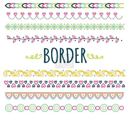 Illustration for Set of  hand drawn border vector - Royalty Free Image