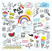 Set of colorful doodle