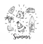 Summer holiday theme background in doodle style