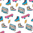 Vintage theme background with sneakers, radio, ska...