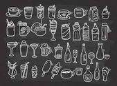 Beverages doodle set