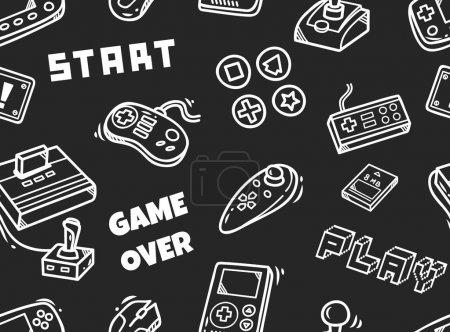 Illustration pour Vecteur d'arrière-plan sans couture jeu vidéo - image libre de droit