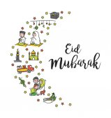 Eid mubarak doodle vector