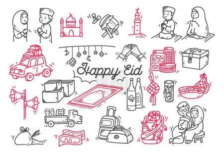 Eid mubarak or idul fitri doodle element...
