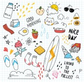Set of colorful doodles on paper background