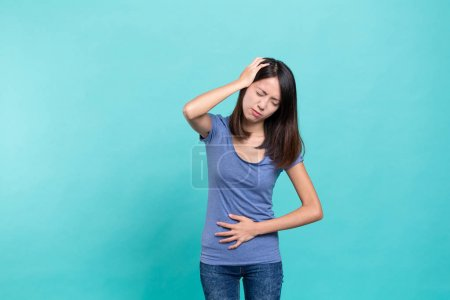 Woman suffer from stomachache