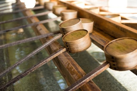 Japanese bamboo ladles in Japanese Temple