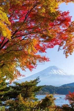 Lake and Mountain Fujisan in autumn season