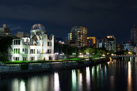 Atomic bomb dome in Hiroshima Japan at night