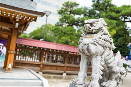 Japanese lion sculpture in temple