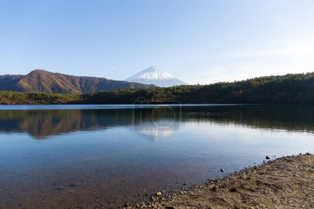 Lake Saiko and mount Fuji