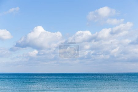 Sunshine seascape with waves and clouds