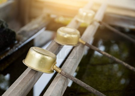 Japanese wooden ladles in shrine