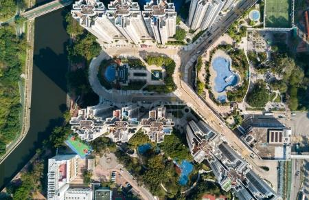 Top view of cityscape in Hong Kong