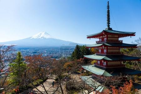 Chureito red pagoda and Mountain Fuji