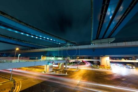 Traffic trail from underground at night
