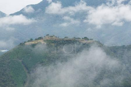 Japanese Takeda Castle and clouds