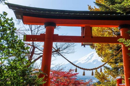 Japanese temple and mountain Fuji