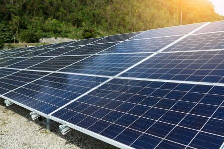 Solar panels with sun flare