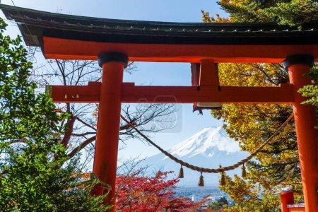 Torii, maple trees and Mount Fuji