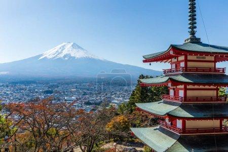 Mountain Fuji and Chureito red pagoda