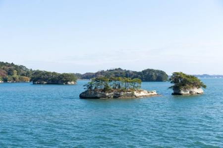 Matsushima Islands with bay in Japan