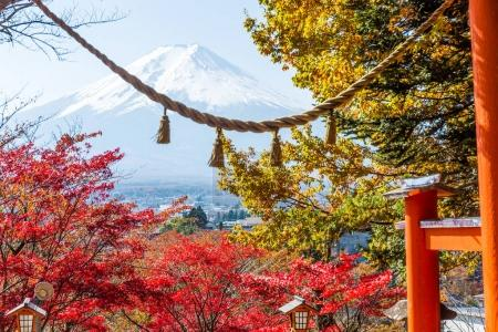 Fuji mountain and japanese temple