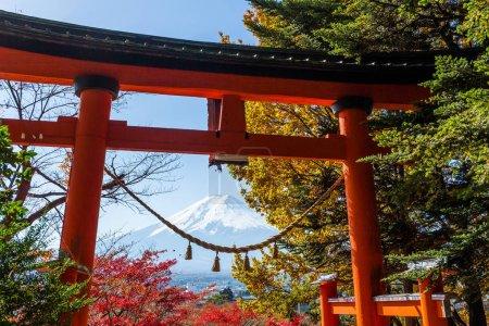 Fujiyama and japanese temple in autumn