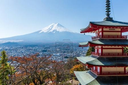 Mount Fuji and Chureito Pagoda in Japan