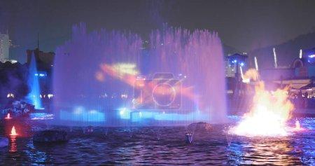 Ocean Park, Hong Kong - 09 December, 2017: Light showing on water fountain in Ocean park at night
