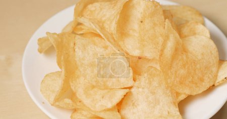 Stack of Potato chips close up