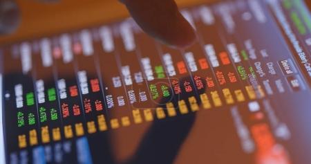 Finger touch on stock market data