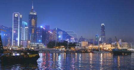 Victoria harbour, Hong Kong - 17 January 2018: Sail junk boat travel in Victoria harbor in Hong Kong city