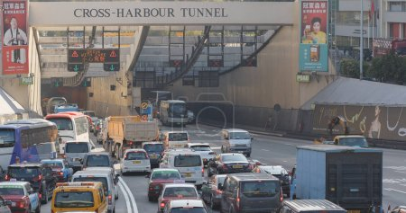 Hung Hom, Hong Kong - 16 January 2018: Cross harbour tunnel