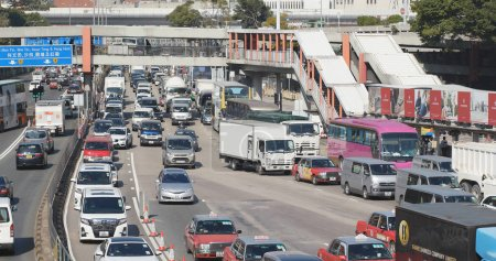 Hung Hom, Hong Kong - 16 January 2018: Cross harbour tunnel congestion