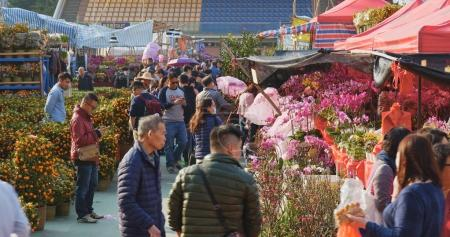 Tsuen Wan, Hong Kong - 13 February 2018: Traditional chinese fair for lunar new year in Hong Kong
