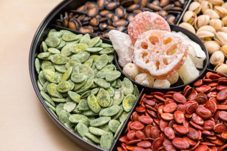 Chinese snack tray close up