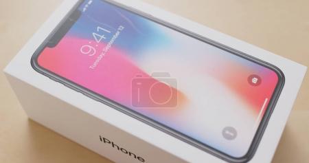 Hong Kong, Hong Kong - 01 March, 2018: Open the box of iphoneX