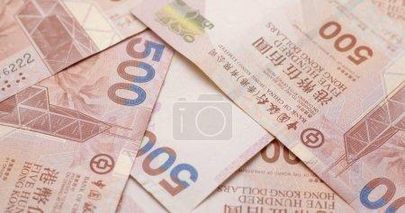 Pile of HK dollar banknotes