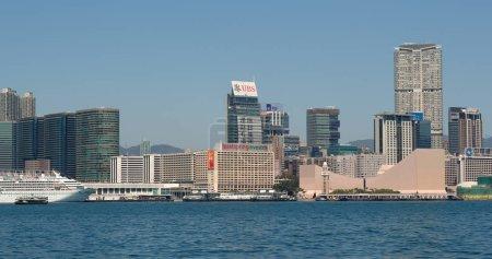 Victoria Harbor, Hong Kong - 09 March, 2018: Hong Kong city at Kowloon side