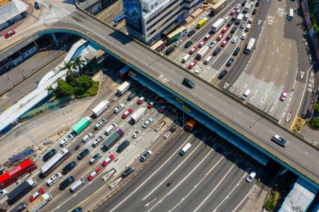 Photo for Hung Hom, Hong Kong - 03 October, 2019: Top view of Hong Kong traffic - Royalty Free Image