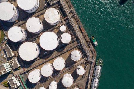 Photo for Tsing Yi, Hong Kong 04 December 2019: Top view Oil Tank - Royalty Free Image