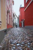 Narrow street in Riga (Latvia)