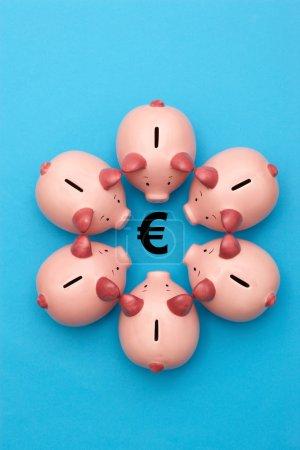 Piggy banks  surrounding a Euro Symbol