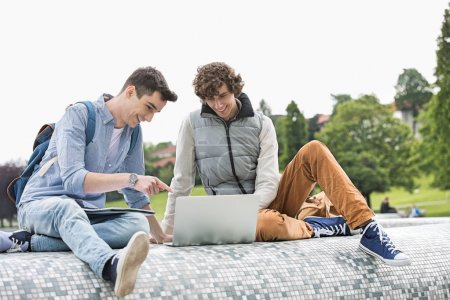 Male college friends with laptop
