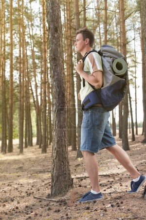 Male hiker with backpack
