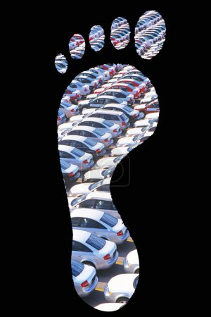 Cars parked in footprint